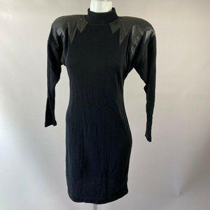 90s All That Jazz Black Faux Leather Sweater Dress